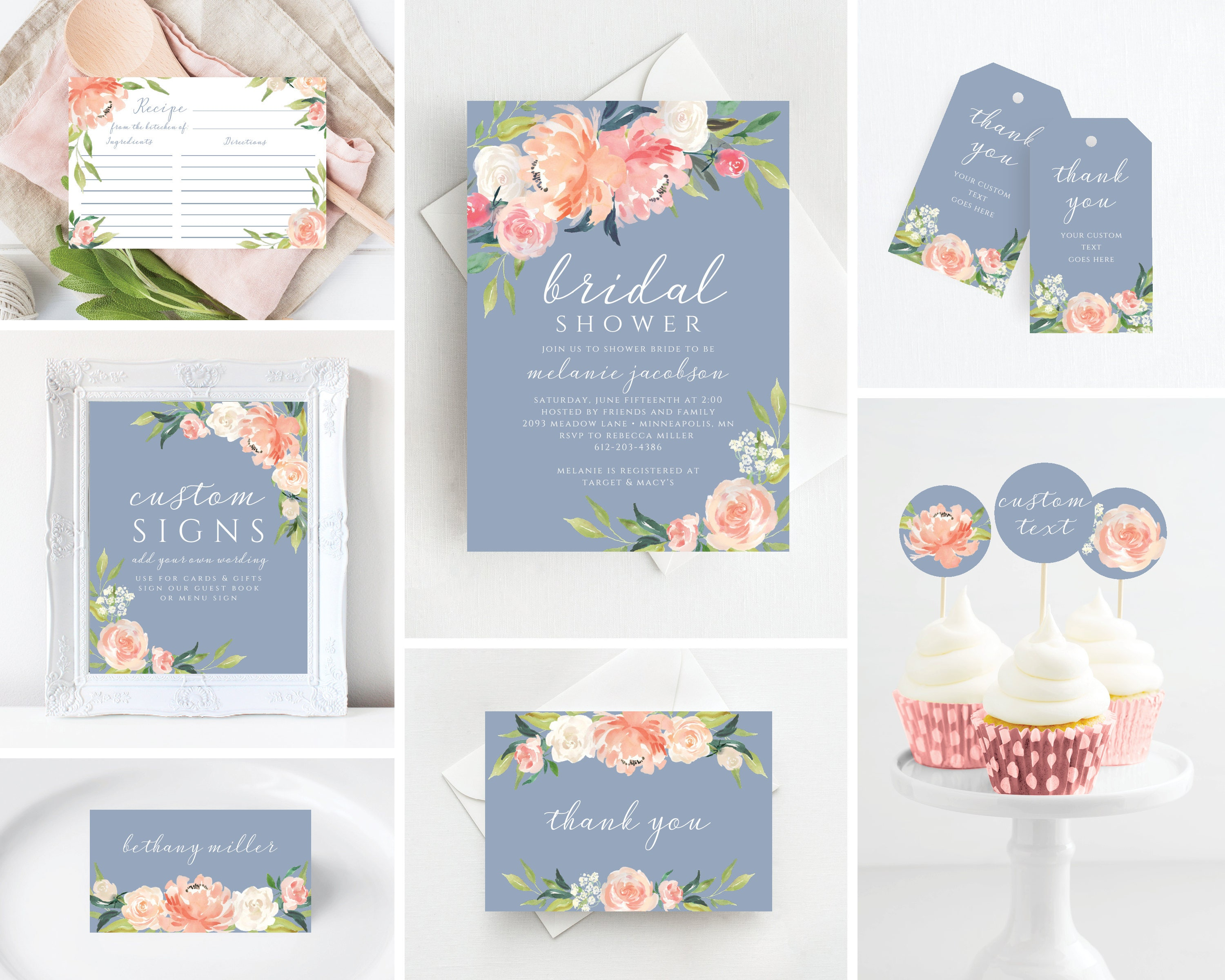 Dusty Blue Bridal Shower Invitation Printable Bridal Shower