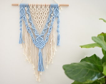 Macrame Wall Hanging, Wall decor, Modern Macrame, Nursery decor, Minimalist art, tapestry, Unique gift Natural white/blue, Boho gift