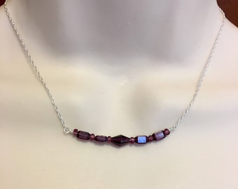 Silver Garnet Bar Necklace on Sterling Silver Chain Available in Six Lengths, Minimalist Garnet Necklace, Bar Pendant is 2 Inches Long