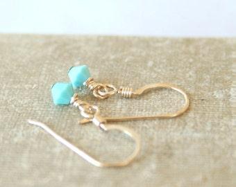 Simple CUSTOM 14k Gold Filled or Sterling Silver Everyday Swarovski Crystal Dangle Drop Earrings