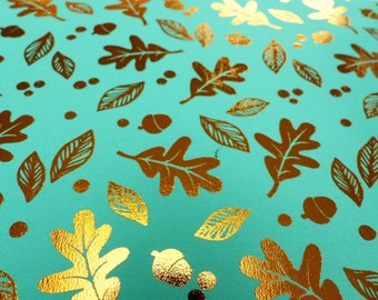 repositionable adhesive fabric coupon 15 x 21 cm green and gold leaf and Acorn tree round dots pattern