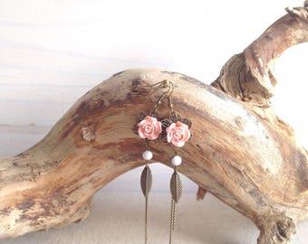 Earrings long Bohemian pink flowers and leaves