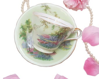 Mint Green Aynsley Teacup with Forest Scenery, Bone China, Made in England, Cottage Chic Decor