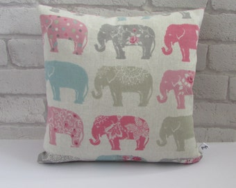 Elephant Print Fabric Cushion, Fabric, Cushion, Home Decor, Handmade, Fabric, Home, Home and Garden, Free Postage