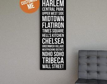 NEW YORK Subway Style Wall Art - Gallery Wrapped Canvas Print.  Destination Transit Roll. New York City Art. New York Subway Sign.