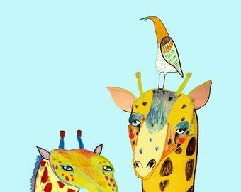 Two Giraffes and Bird. illustration art print for kids and nursery children's illustration.