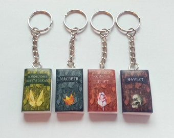 Shakespeare mini book key chains / key rings