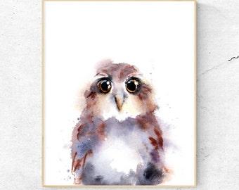 Owl Watercolour Fine Art Print, Woodland Nursery Art, Baby Owl Wall Decor, Baby Animal owlet Print, Printable Digital Poster Download