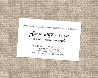 Recipe cards etsy bridal shower recipe card insert instant download stopboris Choice Image