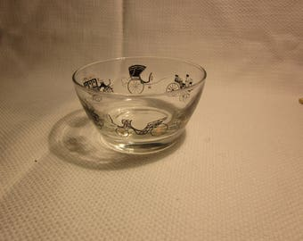 Vintage Libbey glass horseless carriage bowl - 1950's