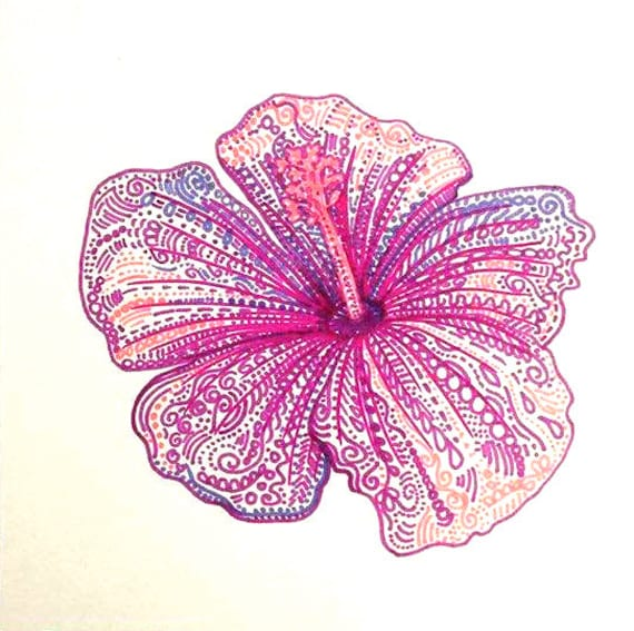 Tropical flower drawing floral art pink flower drawing purple tropical flower drawing floral art pink flower drawing purple flower wall decor tropical themed wedding flower tropical flower art pink art mightylinksfo Images