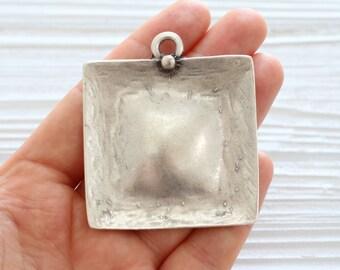 Large silver square pendant, square pendant, geometric pendant, hammered metal pendant, large pendants, unique pendants, rustic pendant