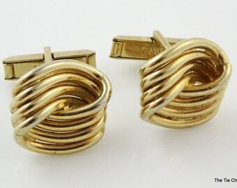 Swank Classic Cufflinks Vintage Swirly Knot Gold Tone