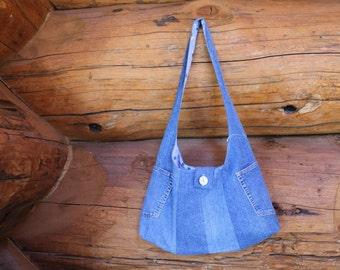 Denim hobo bag, tote bag, denim bag, hobo purse, denim purse, denim handbag, denim shoulder bag, denim sling, denim slouch, recycled denim