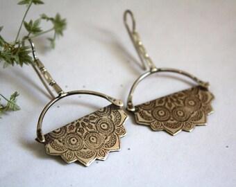 Big silver hoop earrings - sterling silver crescent moon earrings - mandala earrings - oriental earrings - LOTUS