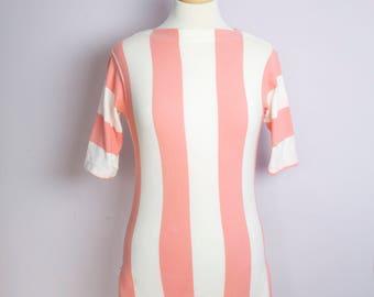 Vintage 1950's Jantzen Pink Stripe Boatneck Knit Top S/M