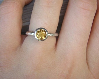Sunny Citrine Ring in Sterling, Stacking OR Solitaire, Size 10