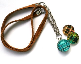 Plaid Locket Necklace - Camping Locket Suede Leather and Metal Rustic Necklace for Flannel Tomboy Girl Gift - Magnetic Jewelry by Polarity