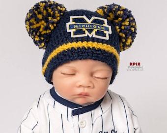 University of Michigan baby, girl, newborn, preemie, hat