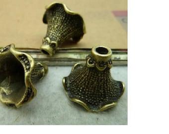 set of 2 large bead caps antique bronze 22 mm x 20 mm
