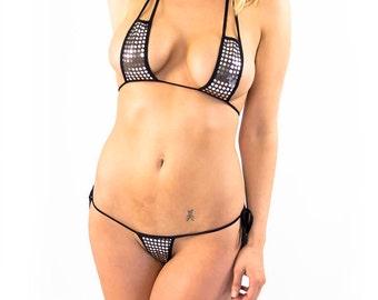Silver dot shinning rock star micro string bikini with thong bottom