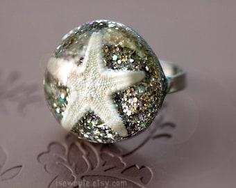 Starfish Ring, Beach Jewelry - Boho Beach Wedding Bridesmaid Jewelry - Starfish White Gold Sand Adjustable Size Seashell Ring by isewcute