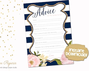 INSTANT DOWNLOAD - Bridal Shower Advice Card - Navy Stripe and Gold Glitter - Blush Pink Peony - 0147