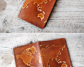 Personalized Passport Cover World Map Passport Cover Travel Gift, Genuine Leather International World Map Travel Wallet