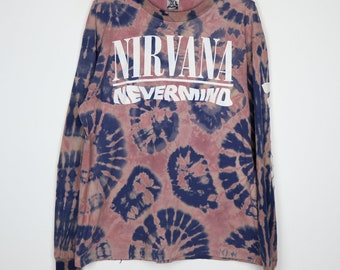 Nirvana Shirt Vintage tshirt 1990s Nevermind Long Sleeve Tie Dye Tee 1990s Kurt Cobain Dave Grohl Krist Novoselic Punk Rock Band Grunge