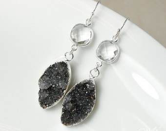 50% OFF SALE - Silver Crystal Quartz & Black Druzy Leaf Earrings - Dangle Earrings - Black Geode Earrings, Crystal Earrings, 925 Silver
