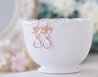 Rose Gold Orchid Flower Clear Crystal Drop Dangle Earrings Rose Gold Wedding Bridal Jewelry Bridesmaid Earrings Bridal Party Bridesmaid Gift