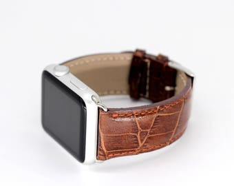 Apple Watch Band New Dark Gold Brown Leather - 42mm + 38mm Apple Watch band - Stainless Alu hardware - iWatch band - for Him - Made in Italy
