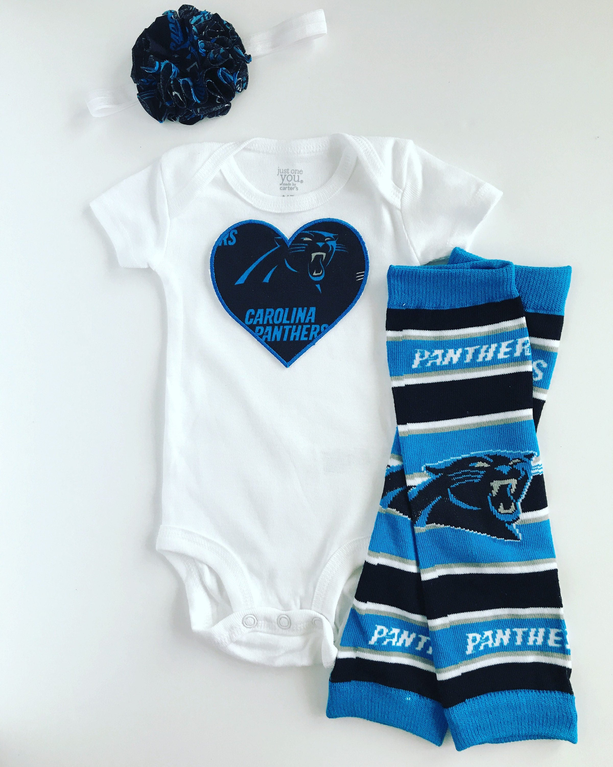 Baby Girl Carolina Panthers Heart Outfit with matching