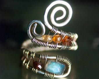 "Labradorite Ring, Gemstone, Sterling Silver Wirework Ring - Blue Fire Labradorite, Deep Red Garnet, Orange Hessonite Garnet - ""Nova"""
