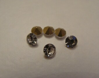 Set of 10 cabochons cone clear faceted rhinestones