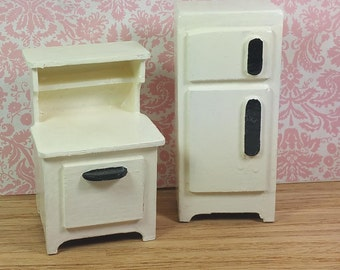 MINIATURE KITCHEN APPLIANCES, Painted Wood, 1:12 Scale, Vintage Dollhouse Furniture