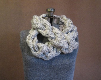 Chunky Knit Braided Infinity Scarf - The Breton - MADE TO ORDER