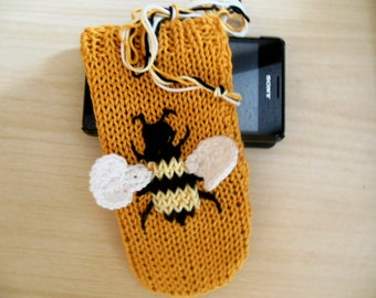 Phone Case, Honey Bee Phone Case, Bumble Bee Phone Cover, Embroidered Phone Case, Smart Phone,  Phone Accessory Organic Cotton Gifts