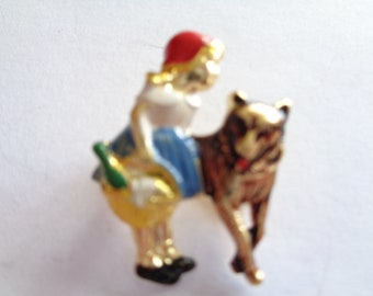 Vintage Tiny Metal Red Riding Hood and Big Bad Wolf   Brooch/Pin