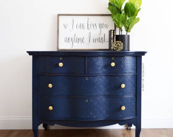Merveilleux SOLD Navy Blue Dresser Gold Knobs   Antique Furniture   Serpentine   Coffee  Bar   Buffet   Farmhouse French Country   Painted Furniture