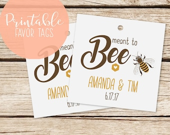 Printable Favor Tags, Thank You Tags, Meant to Bee Tags, DIY Wedding Template Tags, Custom Favor Tags