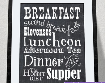 The Hobbit Diet Lord of the Rings Inspired Meal Schedule Tolkien Quote Chalkboard Typography Wall Art / Kitchen Decor Man Cave / Home Office