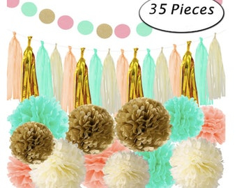 Gold Coral Mint Green Tissue Paper Decor Pom Poms Balls Tassels Garland Birthday Parties Bridal Showers Baby Showers Bridal Wedding