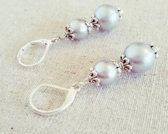 Grey Pearl Earrings • Gray Pearl Dangle Earrings • Gray Pearl Earrings • Gray Pearl Drop Earrings • Grey Pearl Dangle Earrings • uk