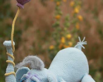 Slonish Sadness - crocheted toys, stuffed animal, funny home decor, handmade toys, positive gift, baby elephant, elephant toy