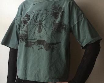 Handmade Cocteau Twins Shirt Vintage Fabric Hand Printed