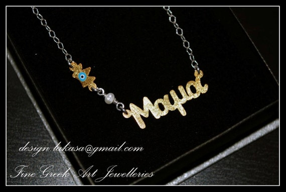 "Handmade Necklace Sterling Silver Gold plated Chain ""mama"" Blue Enamel Crown Freshwater Pearl Fine Greek Art Jewelry Mother Day Newborn Baby"