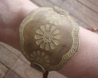 Brown Leather Bracelet - Taupe Leather Bracelet - Leather Cuff - Boho Cuff - Rustic Leather Bracelet - Tooled Leather Cuff Bracelet - Boho