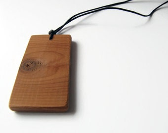 Rectangle wood necklace made of cedar tree
