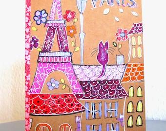 Notebook - sketchbook illustration Paris cats - hand painted notebook